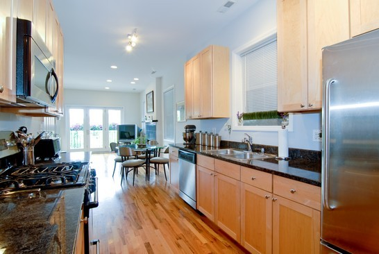 North shore simply home for Galley kitchen with dining area